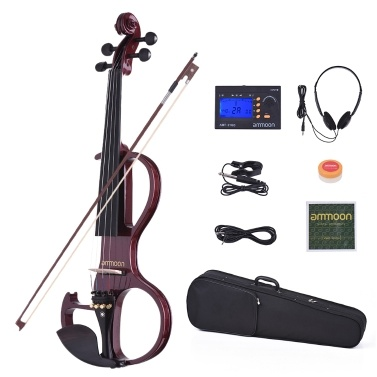 ammoon VE-207 Full Size 4/4 Solid Wood Silent Electric Violin Fiddle Maple Body Ebony Fingerboard Pegs Chin Rest Tailpiece Bow Hard Case Tuner Headphones Rosin Audio Cable Extra Strings Black