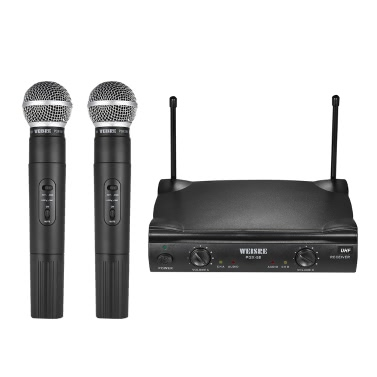 Dual-Channel Wireless UHF Handheld Microphone Mic System Including 2 Microphones 1 Receiver 6.35mm Audio Cable Power Adapter Karaoke Meeting Party