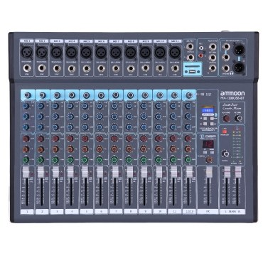 ammoon MX-1200USB-BT 12-Channel Mixing Console Mixer Built-in 16 DSP Effects +48V Phantom Power