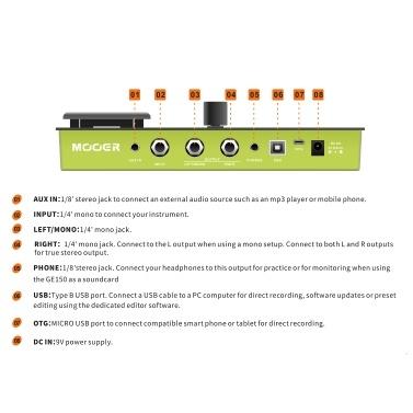 MOOER GE150 Amp Modeling & Multi-Effektpedal 55 Verstärkermodelle 151 Effekte 80er Looper 40 Drum Rhythmen 10 Metronom Tap Tempo OTG Funktion