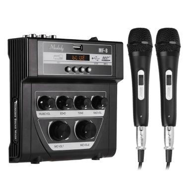 Muslady MF-8 Mini-Sound Audio-Mixer Stereo-Echo-Mixer Dual-Mic-Eingänge unterstützen BT-Aufnahme MP3-Funktion