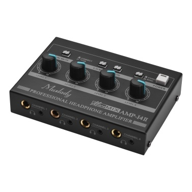 Muslady AMP-14 4-Channel Headphone Amplifier Compact Stereo Headphone Amp