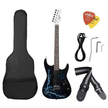 Dual Dual Pickups Electric Guitar Basswood Body Rosewood Fingerboard Cool Lightning Design Gig Bag Picks Strap Beginner
