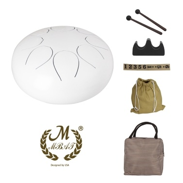 10 Inch Steel Tongue Drum Percussion Instrument Hand Pan Drum Drum Mallets Carry Bags Note Sticks