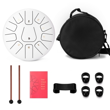 10 inch 11 Tone Steel Tongue Drum Hand Pan Drums with Drumsticks Percussion Musical Instruments