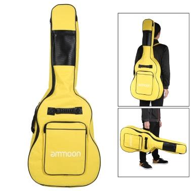 "ammoon doppelte Riemen 5mm Padded 600D Big Case Cover Tasche Rucksack doppeltem Reißverschluss-Anti-Rutsch-Pads Unteres für 40"" 41"" Gitarre"