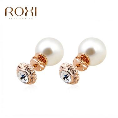 ROXI vergoldet Mode simuliert Strass Perle Stud Ohrring Rose Hochzeit Schmuck für Frauen Mädchen