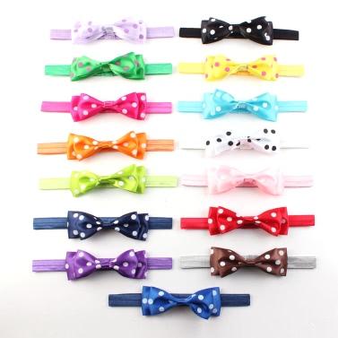 15 PC-neue nette Qualitäts-Bowknot-Stirnband-Baby-Elastizität-Haar-Accessoires für Neugeborene Kind-Mädchen-Kleinkind