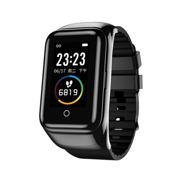 LEMFO M7 1.14-Inch 2 in 1 Smart Bracelet with TWS Rotatable Earbuds Sports Watch BT4.2/5.0 Fitness Tracker Sleep/Heart Rate/Blood Pressure Monitor Pedometer Steps/Distance/Calories Notification/Call/Sedentary Reminder Compatible with Android iOS Black