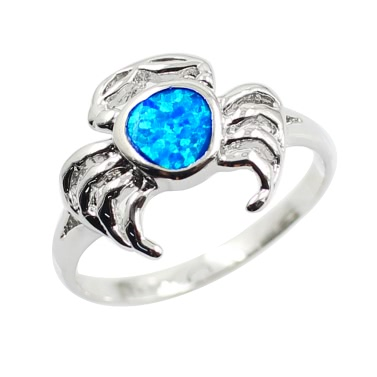Fashion 925 Sterling Silver Simulated Opal Lovely Crab Ring Women Girl Wedding Engagement Jewelry Accessory