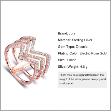 JURE 925 Sterling Silver Ring Zirconia Wedding Engagement Ring Proposal Bridal Halo Rose Gold Replacement