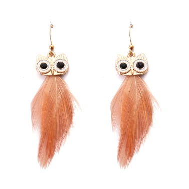 Fashion Hot New High Quality Vintage Earring with Animal Feather Pendant Ear Drop Owl Dangle Jewelry for Women Gift