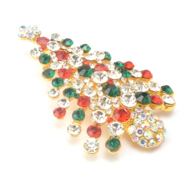 New Fashion Shining Rhinestone Crystal Brooch Collar Clip Pin Clothes Accessory Jewelry Scarf Buckle for Holiday Party Gift Christmas