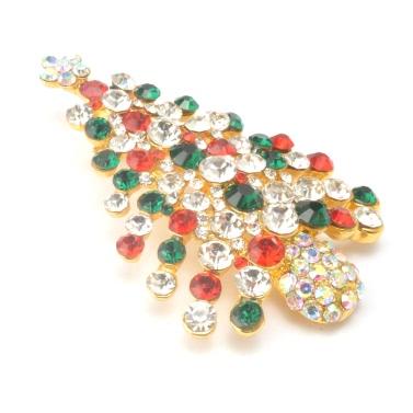 Neue Art und Weise Glänzende Strass Kristall Brosche Kragen Clip Pin Kleidung Zubehör Schmuck Schal Schnalle für Partei-Geschenk-Feiertags-Weihnachts