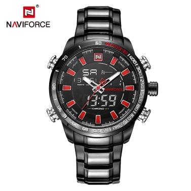 NAVIFORCE Luxus-Dual-Display Digital Quarz Herrenuhr Edelstahl leuchtende Sportuhr Chronograph Wasser-Proof Man Clock + Geschenk-Box