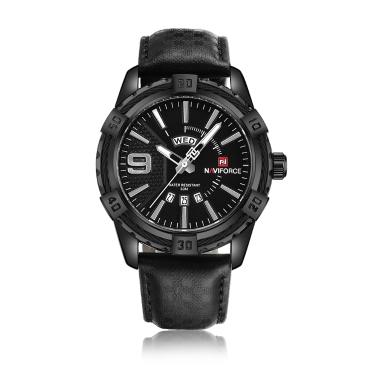 NAVIFORCE Fashion Causal Men Watches Quartz Male Watch 3ATM Water-resistant Luminous Wristwatch Calendar Time Display