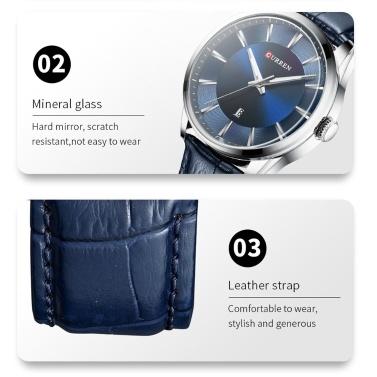 CURREN 8365 Quartz Man Armbanduhr Herrenuhr mit Lederband Kalenderanzeige Datum Wasserdicht Herrenuhren Tragbares Zubehör