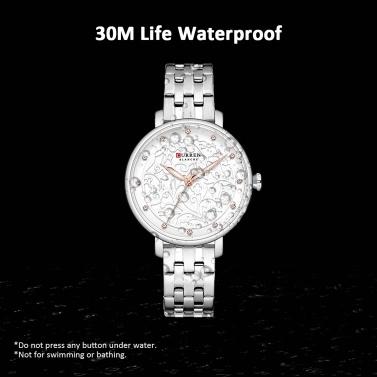 CURREN 9046 Quarz Damen Armbanduhr geschnitzt Blume bestickt Stil Uhr für Damen Damenuhren mit Kunstleder PU-Armband Edelstahlband wasserdicht tragbare Accessoires