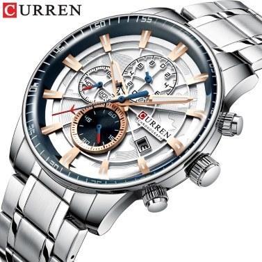 Curren Men Business Watch Fashion Alloy Case Stainless Steel Band Watch Exquisite 3 ATM Waterproof Calendar Quartz Wrist Watch