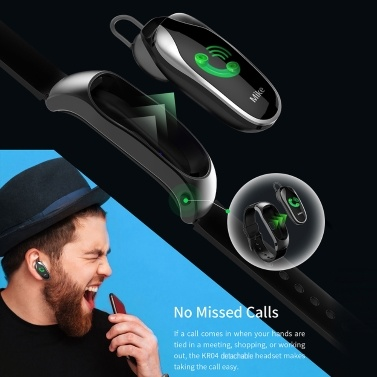 KINGWEAR Smart Watch Smart Bracelet Wristband with Headset Activity