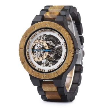BOBO BIRD Mens Wooden Watch Mechanical Wristwatch with Gift Box Wood Band Timepieces for Men