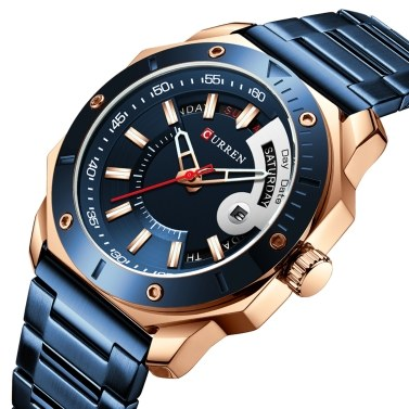 CURREN Men Watch Quartz Movement Time Week Calendar Display Luminous Design 3ATM Waterproof Male Round Fashion Wristband for Business & Daily Life