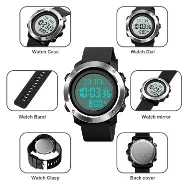 SKMEI Muslim Digital Watch for Prayer Qibla Compass Hijri Calendar Quran Bookmark City Selection Function Date Week Alarm Backlight 5ATM Waterproof Men Azan Watches Islamic Wristband Men