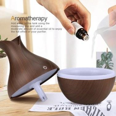 130 ml Ultraschall Aroma Diffusor Kreative Vase Holz Mini Stumm USB Luftbefeuchter Haushaltsluftbefeuchter Schlafzimmer Ätherisches Öl Aromatherapie Maschine für Home Office (helle Holzmaserung Sieben farbe Licht)