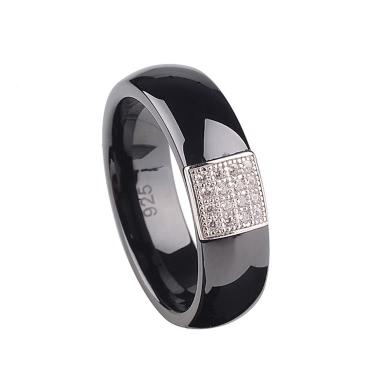 Nano Ceramic & S925 Sterling Silver Dome Polished with CZ Diamond Embedded White Gold Electroplated Ring