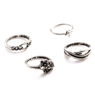 4 Pcs Fashion New Hot Vintage Retro Anti-silver Plated Knuckle Finger Ring Set Jewelry Accessories for Women Girls Party Band