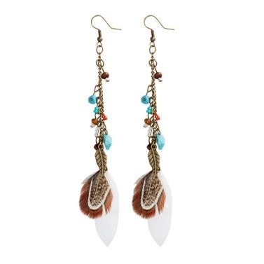 Böhmische Art-Weinlese-Feder-Ohrring-lange Troddel-Ketten-Tropfen baumeln Ohrringe für Frauen