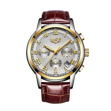LIGE Herren Luxus Business Ledergürtel Uhr Multifunktionale Fashion Classy Armbanduhr