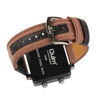 OULM Men Business Watch Luxury Canvas Band Quartz Watch Three Time Zone Sport Wristwatch