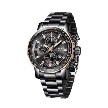 LIGE Männer Multifunktionsgeschäft Armbanduhren Mode Sport Wasserdichte Kalender Analoge Quarzuhr