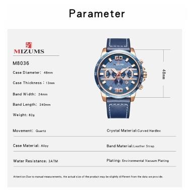 MIZUMS Männer Business Watch Fashion Alloy Fall Lederband Uhr Exquisite 3 ATM Wasserdichte Quarz-Armbanduhr