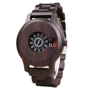 BOBO BIRD Wooden Watch Quartz Wristwatch Retro Casual Date Chronograph Display