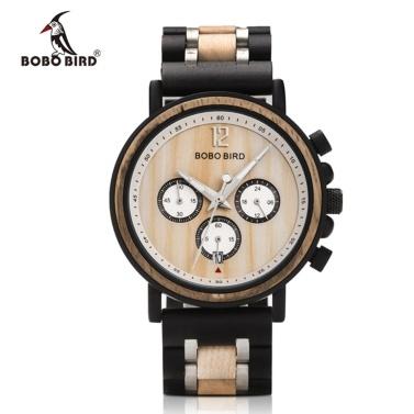 Bobobird s18 männer quarzuhr holz band mode multifunktions armbanduhr 3atm leuchtanzeige chronograph kalender datum anzeige uhren
