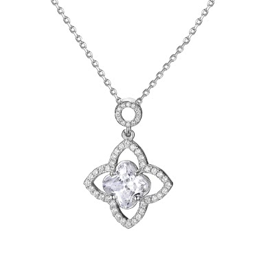 JURE S925 Solid Sterling Silver Chain Necklace The One Jewelry Zirconia 18 Inch