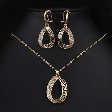 Hot Selling Fashion Charm New Jewelry Retro Rose Gold Necklace Earrings Water Drop Tear Pendant Suit Set Gift Wedding Party Alloy Rhinestone Crystal