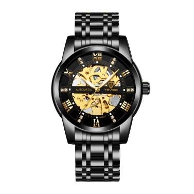 TEVISE Männer Automatische Selbstwinduhr Männer Mechanische Geschäftsuhren Mode Hohle Stahl Armbanduhren