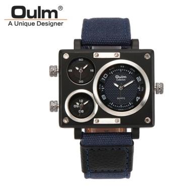 OULM Männer Business Watch Luxus Canvas Band Quarz Uhr Drei Zeitzone Sport Armbanduhr