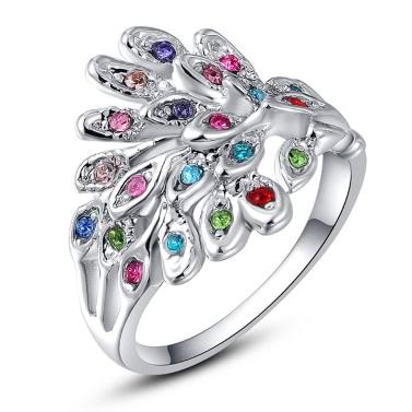 Roxi neue Art und Weise Hot Charm Gold überzogener Ring mit bunten Zircons Strass-Kristall für Frauen-Mädchen-Party-Geschenk