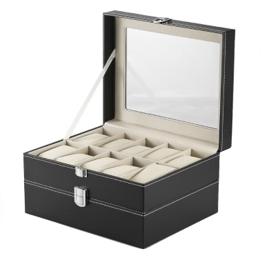 Luxury 20 Slot Watch Box Organizer Glass Top PU Leather Watch Display Case Jewelry Storage Cabinet