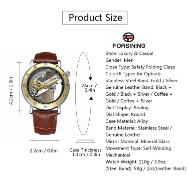 FORSINING Luxury Skeleton Automatic Mechanical Men Watch Self-Wind Stainless Steel/Genuine Leather Man Business Wristwatch + Box