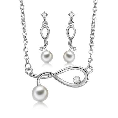 Mode-Legierung Schmuck-Set eingebettet Diamant Twisted Halskette Ohrringe Frauen Kleidung Zubehör