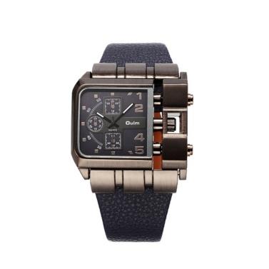 OULM Luxus Quarzuhr Männer Platz Dial Lederband Uhren Männliche Antike Armbanduhr