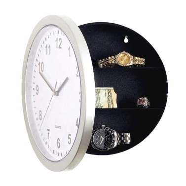 Round Wall Clock Safe Box Home Multifunctional Analog Clock Secret Interior Storage Jewelry & Cash