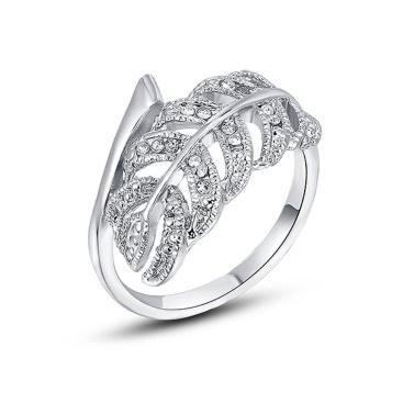 Roxi Art und Weise heiße Verkaufs-Weinlese-Blatt-Entwurf Gold überzogenes Zircon Rhinestone-Ring-Schmucksachen für Frauen-Mädchen-Geschenk