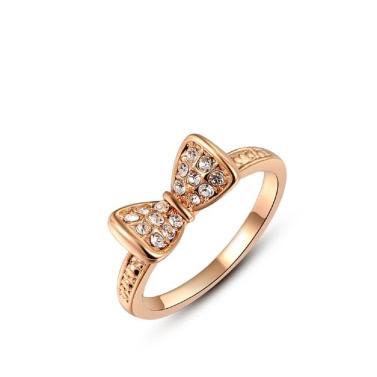 Roxi Fashion Weinlese-nette Bowknot Gold überzogenes Zircon Kristallrhinestone-Ring heiße Schmucksachen für Frauen-Geschenk-Mädchen