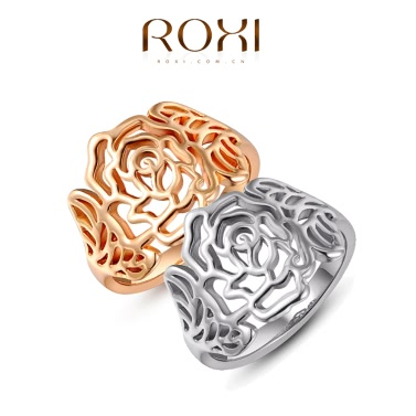 Roxi Fashion New Hot Retro Gold Plated Hollow Flower Vintage High Quality Ring Jewelry for Women Gift Girls